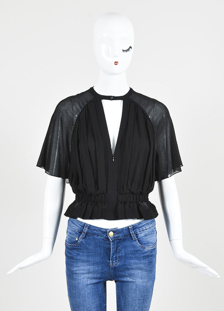 "Black Isabel Marant Cotton Crepe Gathered Waist ""Rauline"" Short Sleeve Top Frontview"