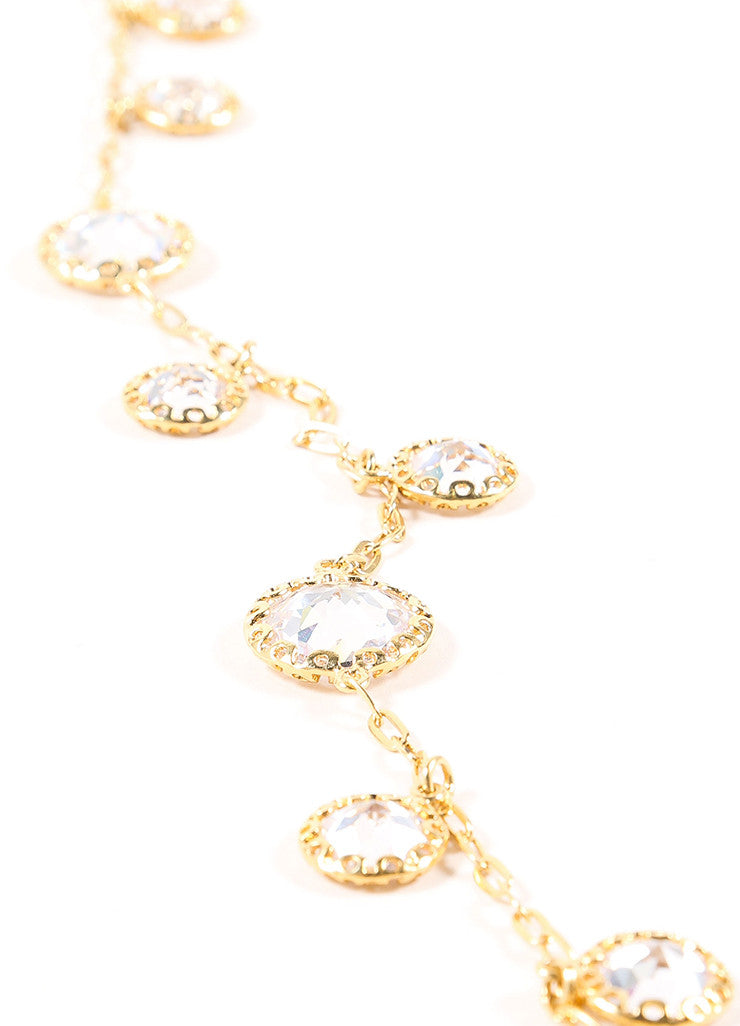 Jarin Gold Toned Rhinestone Embellished Long Lariat Tie Necklace Detail 2