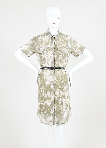 Army Green and Cream Jason Wu Silk Chiffon Belted Short Sleeve Shirt Dress Frontview