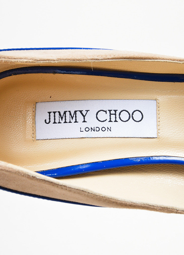 "Blue and Tan Jimmy Choo Suede Patent Color Block Peep Toe ""Tami"" Pumps Brand"