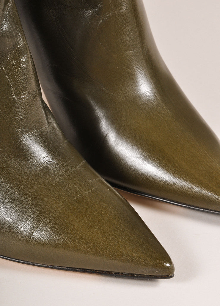 "Jimmy Choo New In Box Army Green Leather ""Amore"" Pointed Toe Ankle Boots Detail"