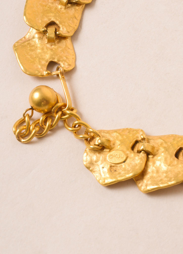 Kenneth Jay Lane Gold Toned Leaf Link Necklace Brand