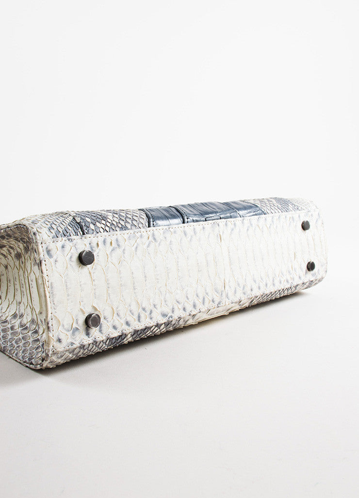 Khirma Eliazov Herzog Grey Python and Crocodile Convertible Clutch Bag Bottom View