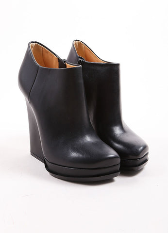 Lanvin Black Leather Side Zip Chunky Heel and Platform Ankle Boots Frontview
