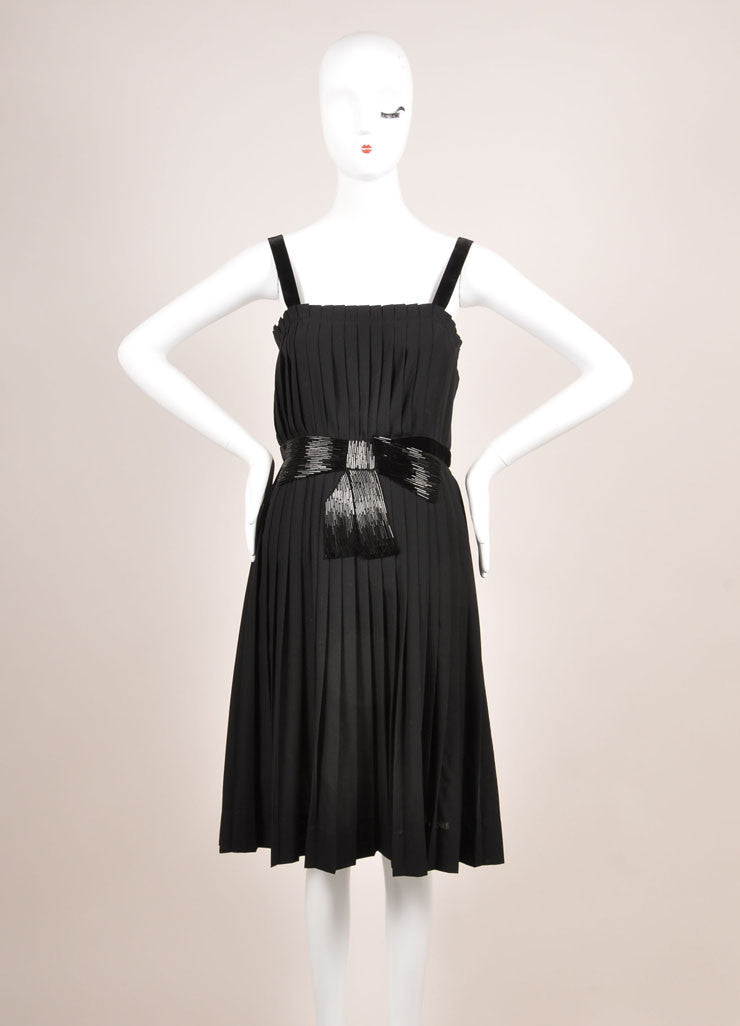 Lanvin Black Beaded Bow Detail Wool Blend Sleeveless Pleated Dress Frontview