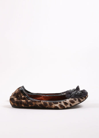 Lanvin Black and Brown Pony Hair Leopard Print Embellished Elastic Flats Sideview