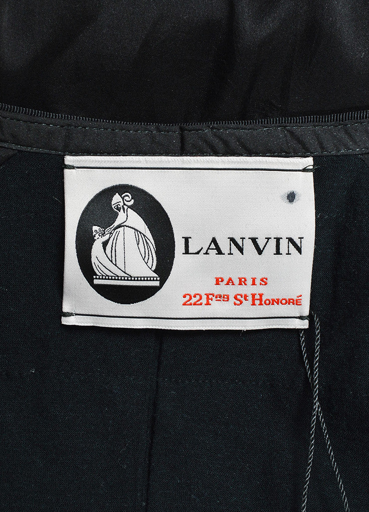 Lanvin Black Silk Ruched Grosgrain Trim Long Jacket Brand