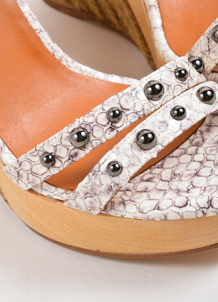 Lanvin White and Grey Snakeskin Wood Raffia Studded Wedge Sandals Detail