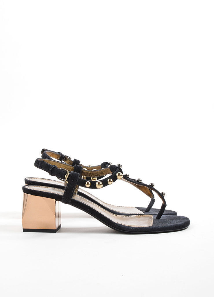 Lanvin Black and Gold Toned Suede Studded Chunky Heel Thong Sandals Sideview