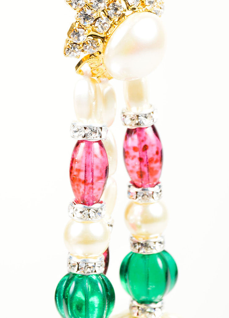 Faux Pearl Lawrence VRBA Multicolor Bead Earrings Detail