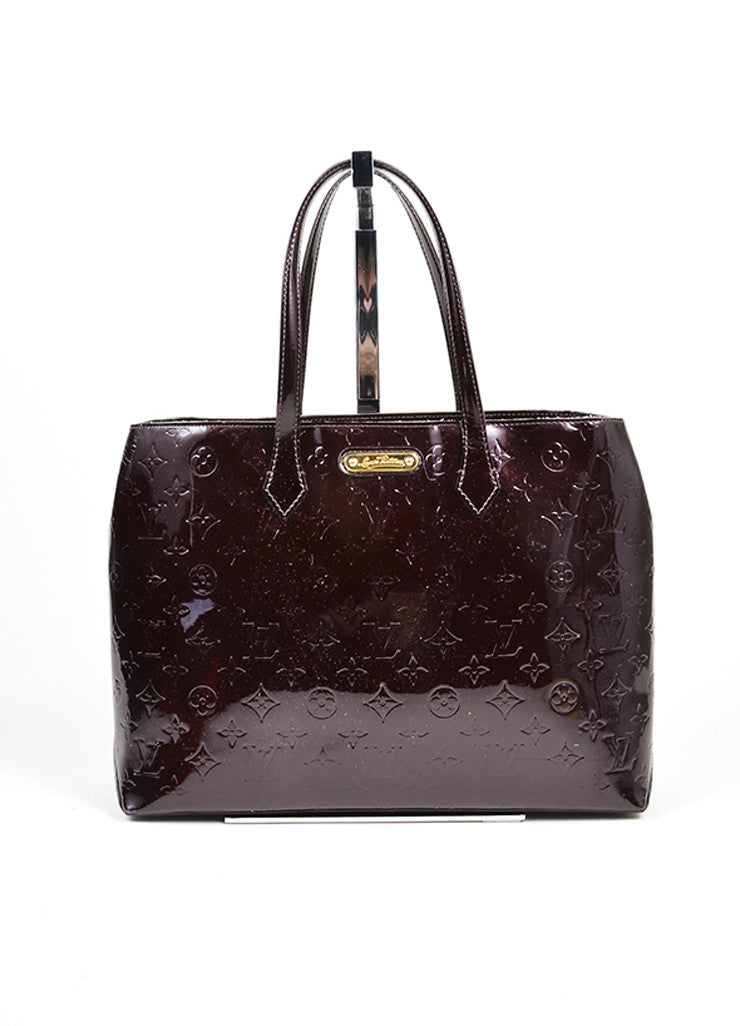 "Louis Vuitton Maroon Amarante Monogram Vernis Leather ""Wilshire MM"" Tote Bag Frontview"