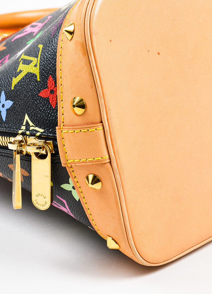 "Louis Vuitton Black Monogram Multicolore ""Alma PM"" Satchel Tote Bag Detail"