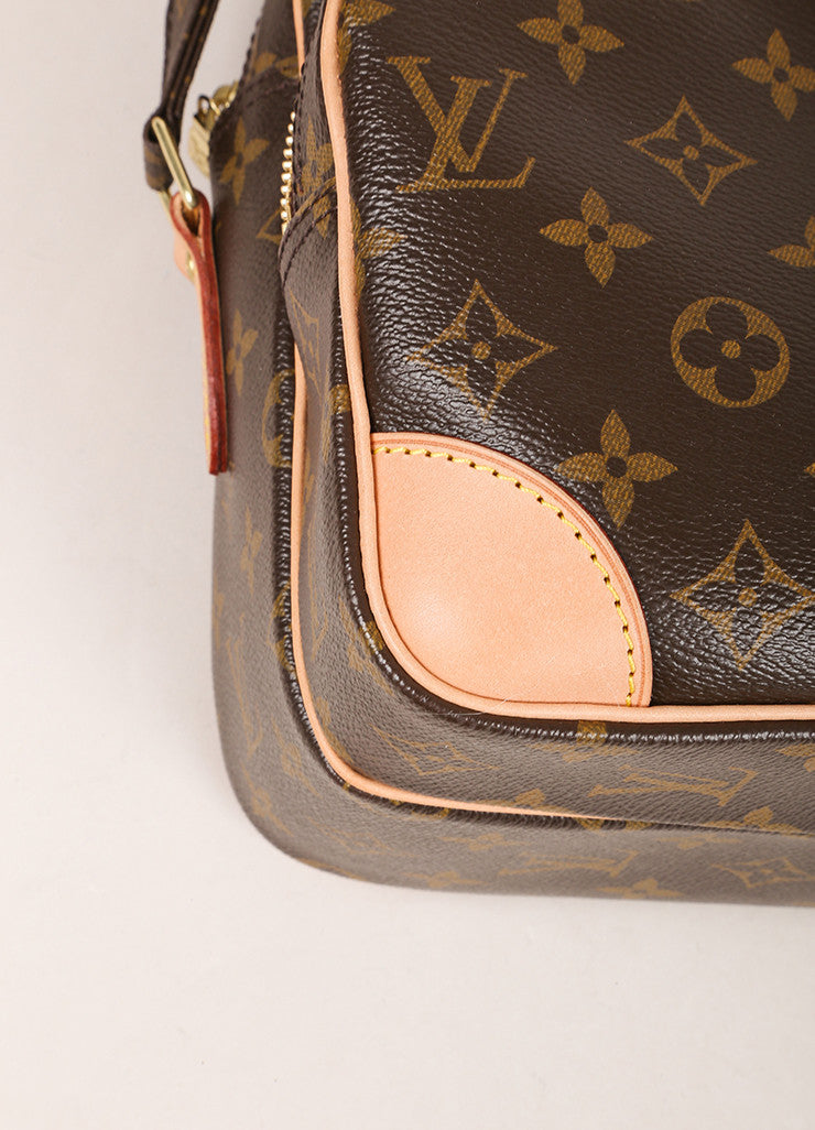 "Louis Vuitton Brown Monogram Canvas Structured ""Nil"" Crossbody Bag Detail"