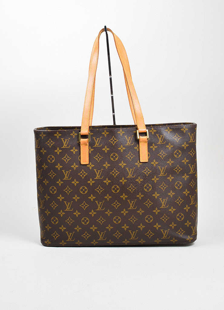 "Brown and Tan Louis Vuitton Coated Canvas Monogram Logo ""Luco"" Tote Bag Frontview"