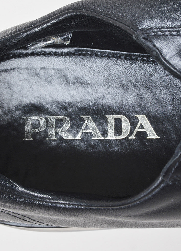 Men's Prada Black Leather Transparent Platform Lace Up Creeper Sneakers Brand