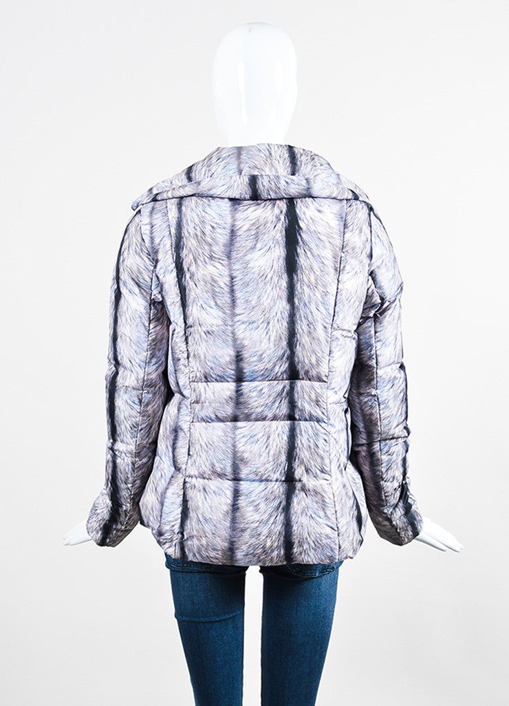 MM6 Maison Martin Margiela Grey and Black Fur Double Breasted Down Puffer Coat Backview