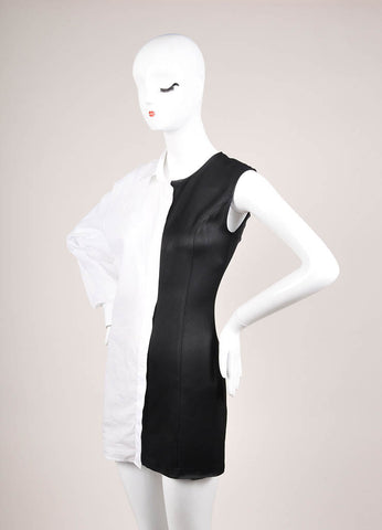 Maison Martin Margiela Black and White Poplin Satin One Sleeve Tunic Dress Sideview