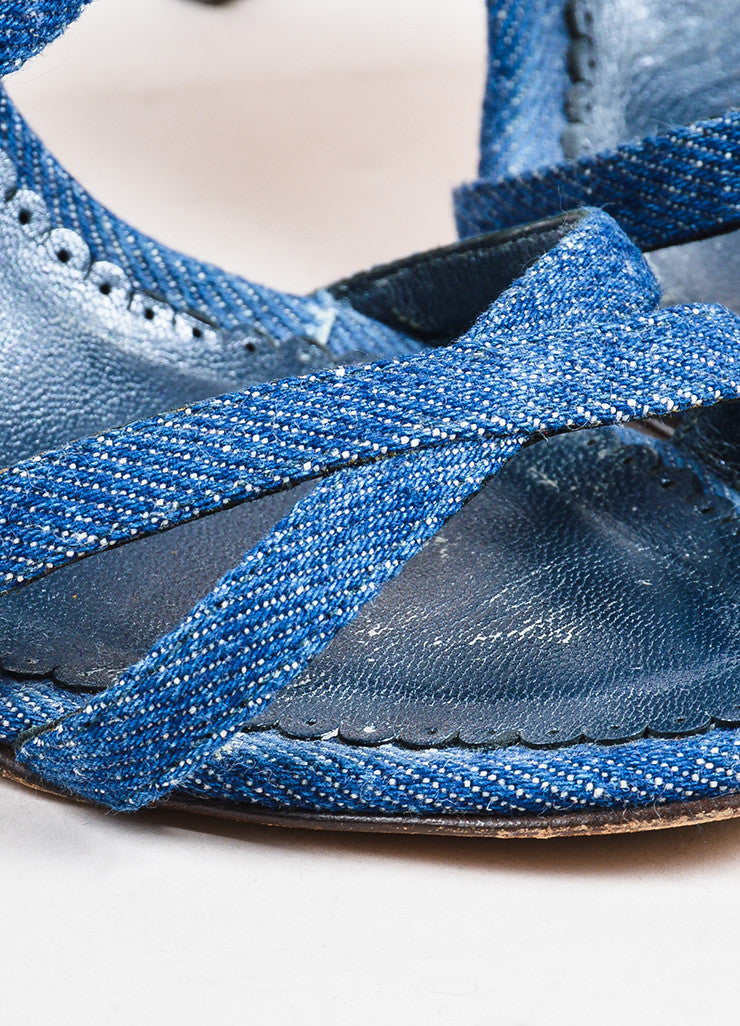 Manolo Blahnik Dark Blue Denim Cross Strap Heeled Sandals Detail