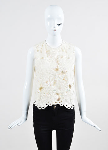 Cream Marni Floral Woven Semi Sheer Shell Top Frontview