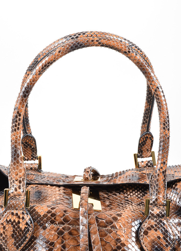 "Michael Kors Brown Python Leather ""Miranda"" Tote Bag Detail 2"