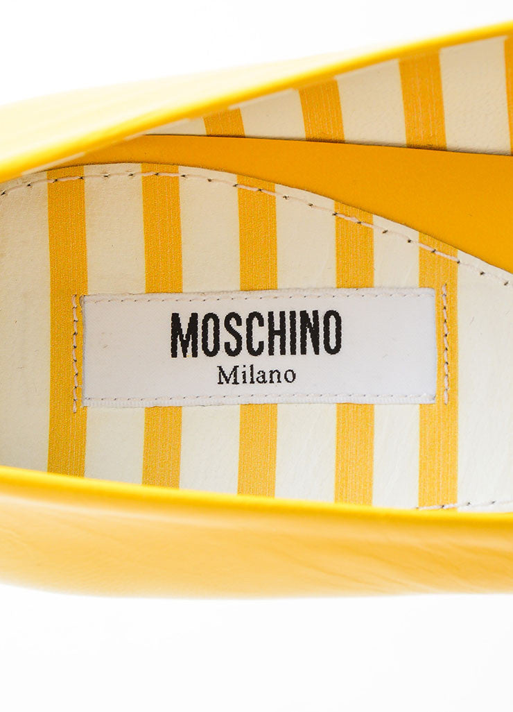 Yellow and Red Leather Moschino Fast Food Cap Toe Flats Brand