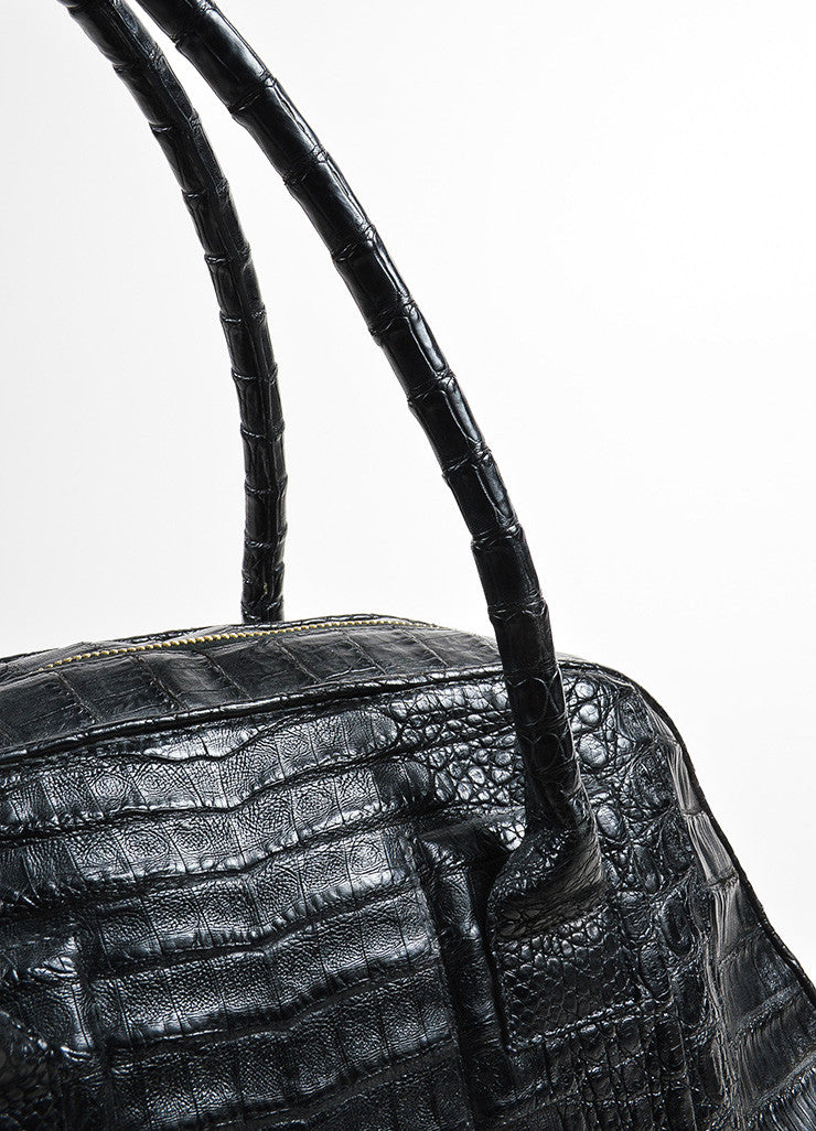 Black Nancy Gonzalez Crocodile Medium Bowler Satchel Bag Detail 2