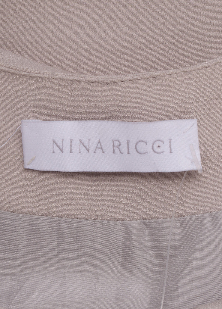 Nina Ricci Grey Draped Button Detail Sleeveless Dress Brand