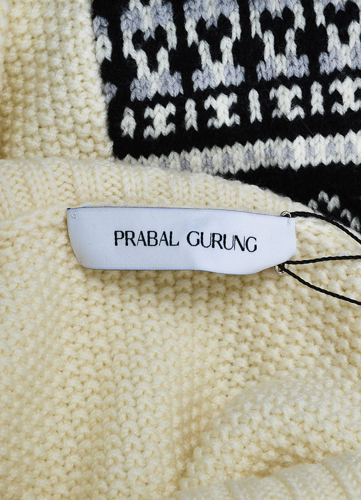 Cream Prabal Gurung Wool Mixed Knit Oversize Sleeveless Turtleneck Sweater Brand