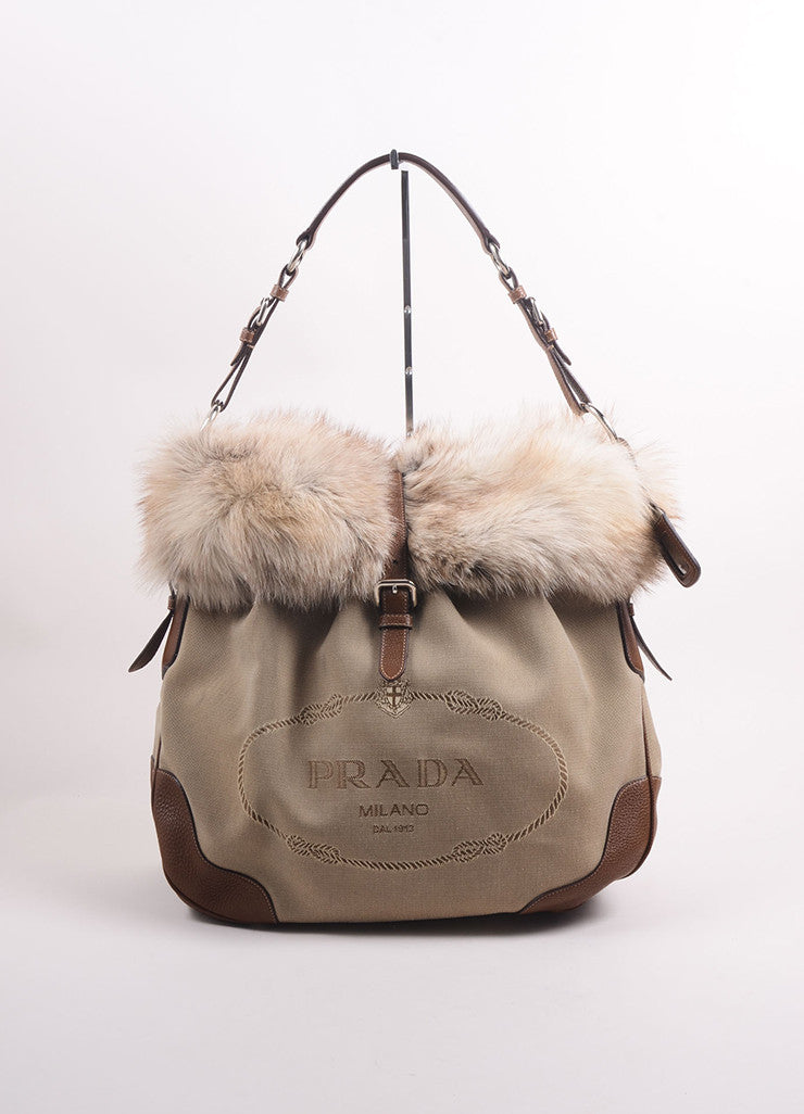 Prada Brown and Beige Canvas Fox Fur Trim Logo Tote Bag Frontview