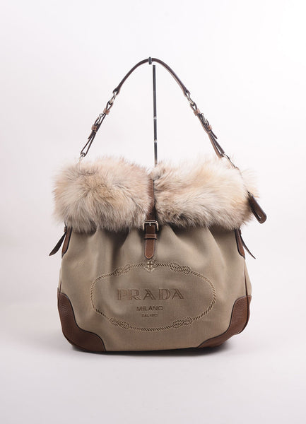 Prada Brown And Beige Canvas Fox Fur Trim Logo Tote Bag