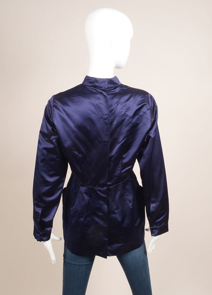 Prada New With Tags Navy Silk Satin Pleated Button Down Long Sleeve Top Backview