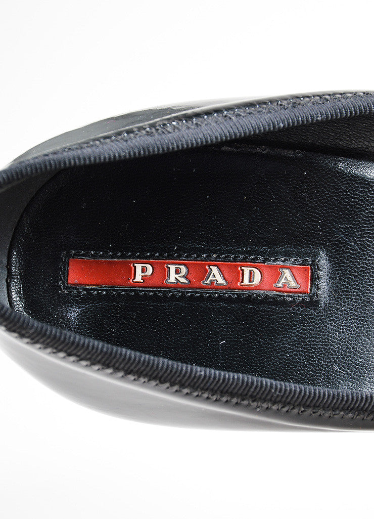 Black Prada Sport Patent Leather Square Heel Round Toe Pumps Brand