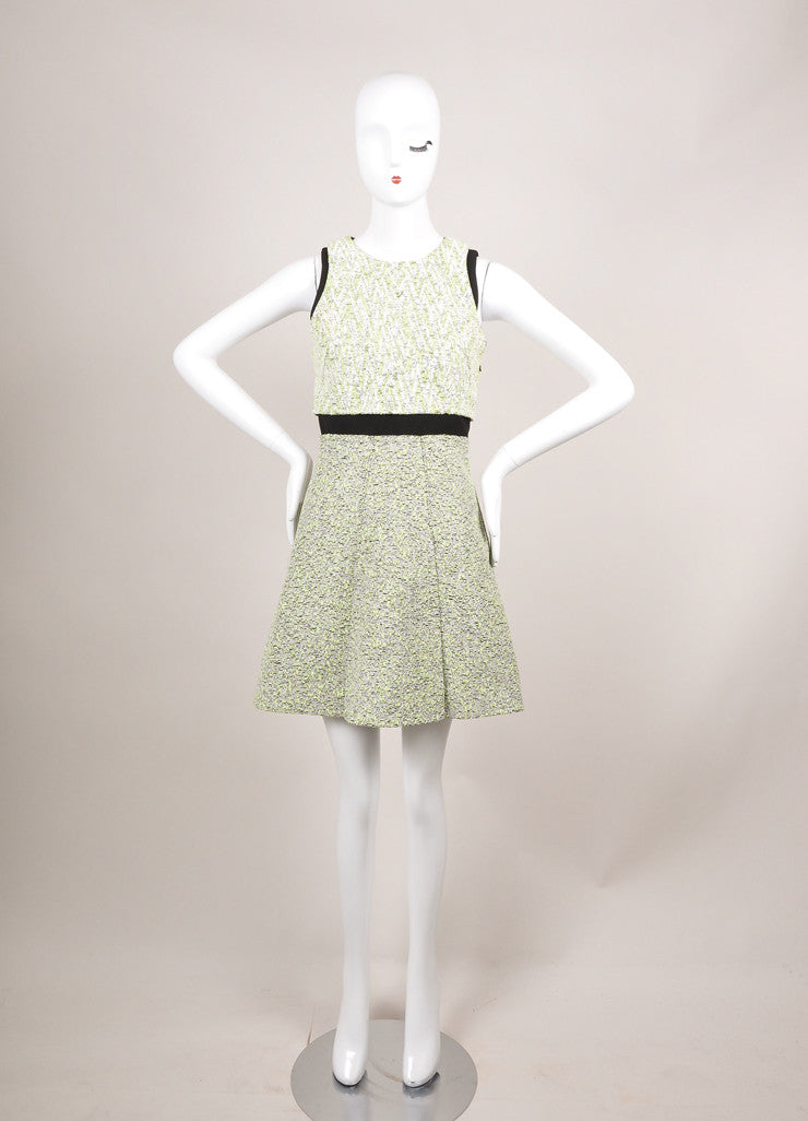 Proenza Schouler New With Tags White and Green Zig Zag Plaster Jacquard Dress Frontview