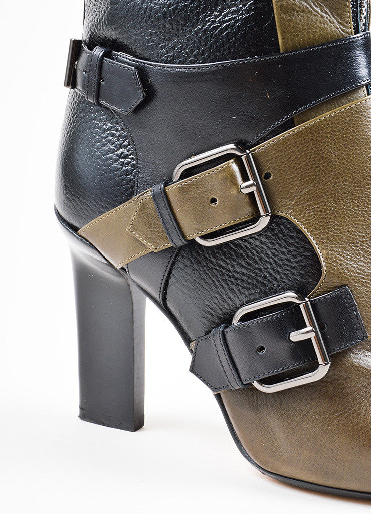 Reed Krakoff Black and Olive Green Leather Pointed Cap Toe Buckle Heeled Boots Detail