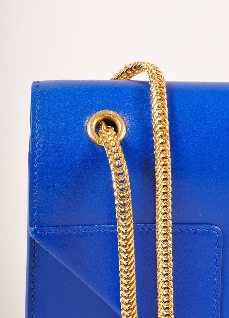 "Saint Laurent New With Tags Blue Leather ""Borsa Betty 2"" Medium Chain Bag Detail 2"