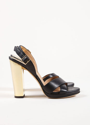 Salvatore Ferragamo Black Chunky Heel Strappy Sandals Side