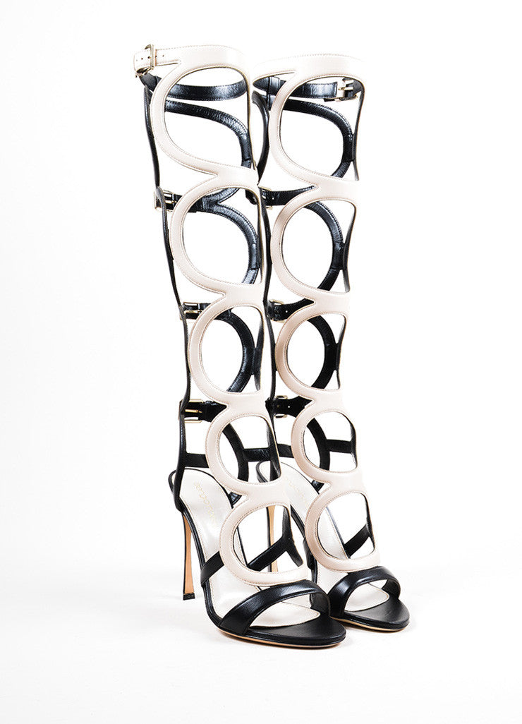 "Cream Black Sergio Rossi ""Arabesque"" Cage Sandals Front"