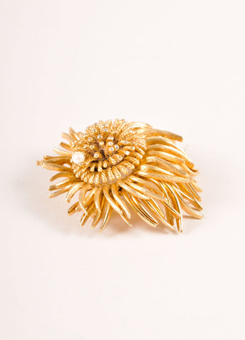 Boucher Gold Toned and Faux Pearl Flower Pin Sideview