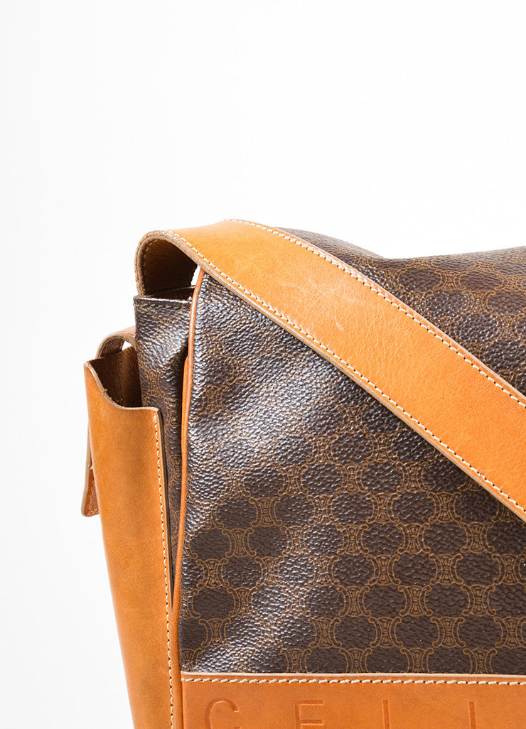 Celine Brown and Tan Coated Canvas and Leather Macadam Printed Messenger Bag Detail 2