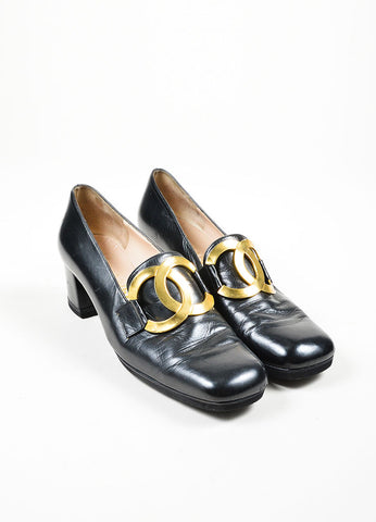 Black Chanel Leather Pilgrim Square Toe Loafers Frontview