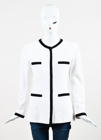 Chanel Black and White Cotton Boucle Woven Trim Jacket Frontview 2