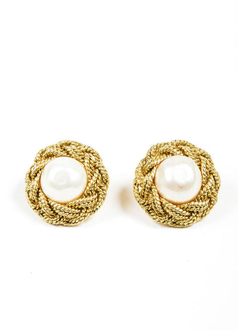 Gold Toned and Faux Pearl Chanel Braided Cufflinks Frontview