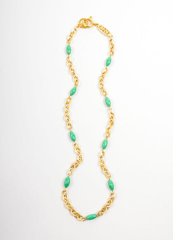 Chanel Gold Toned and Green Chain Link Beaded Long Necklace Frontview