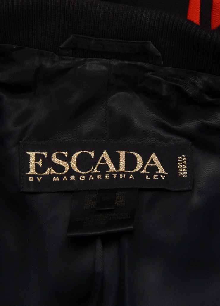 Escada Red and Black Wool Double Breasted Blazer Jacket Brand