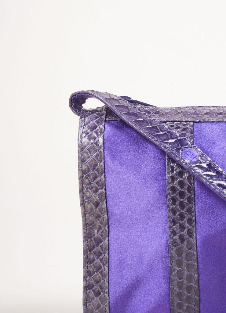 Fendi Purple and Grey Satin and Snakeskin Leather Zip Shoulder Bag Detail 2