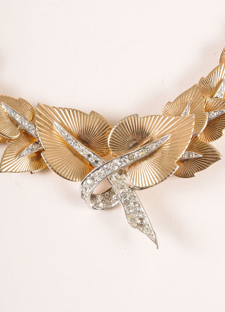 Marcel Boucher Gold Toned and Silver Toned Rhinestone Leaf Choker Necklace Detail