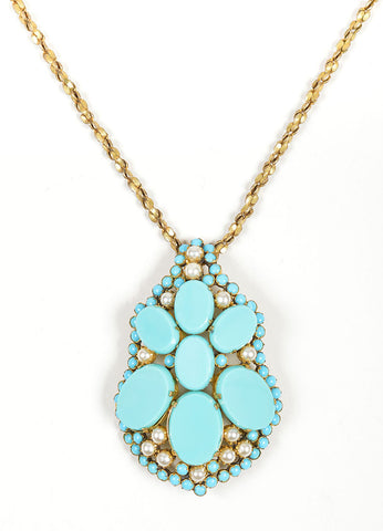 Brass Toned, Turquoise Beaded, and Faux Pearl Miriam Haskell Pendant Necklace Detail