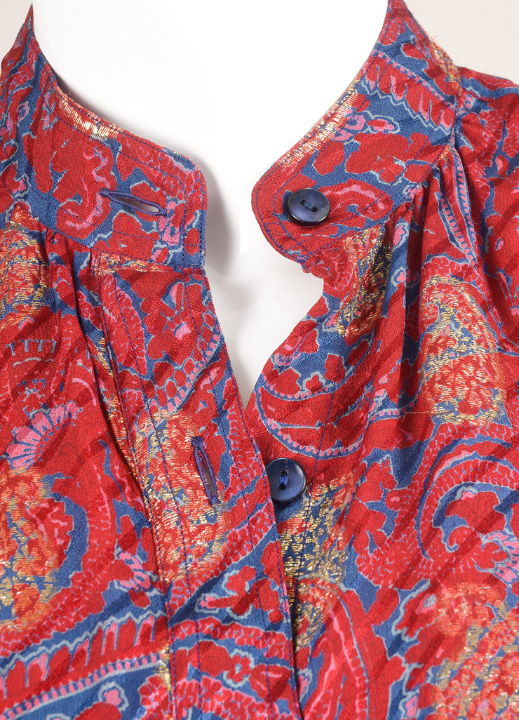 Saint Laurent Maroon, Blue, and Gold Paisley Button Down Blouse Detail