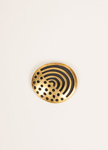 Vaubel Gold Toned and Black Cut Out Round Pin Frontview