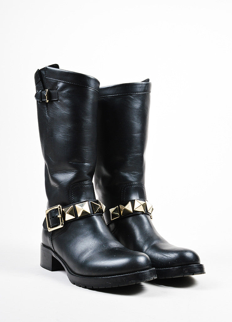 "Black Valentino Leather Stud Buckled Strap ""Rockstud"" Biker Boots Frontview"